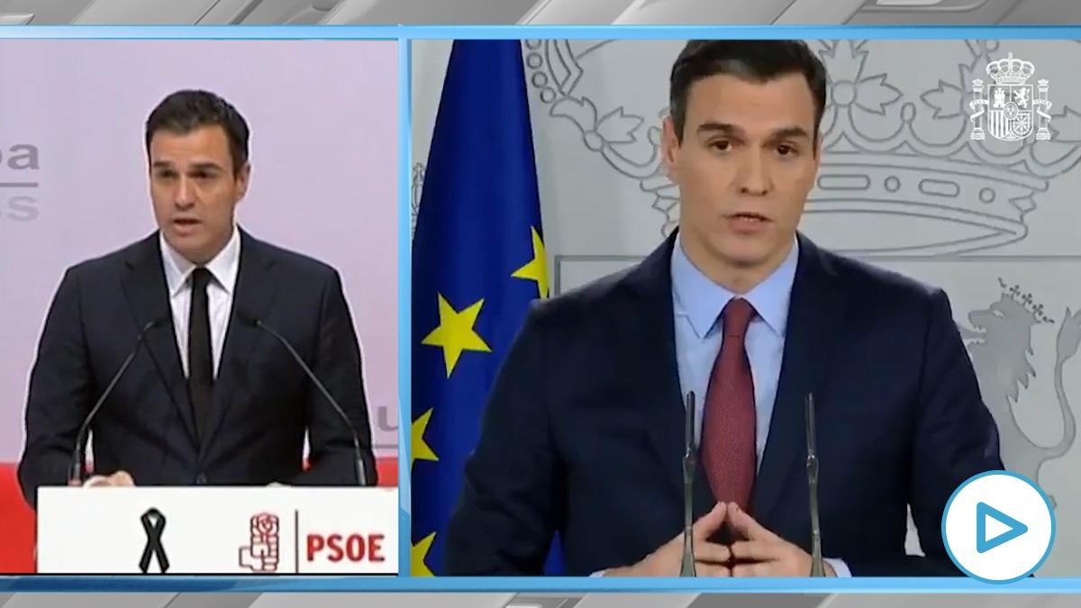 A la izquierda, Pedro Sánchez con corbata negra por los atentados de París en 2015. A la derecha, una de sus comparecencias por la epidemia