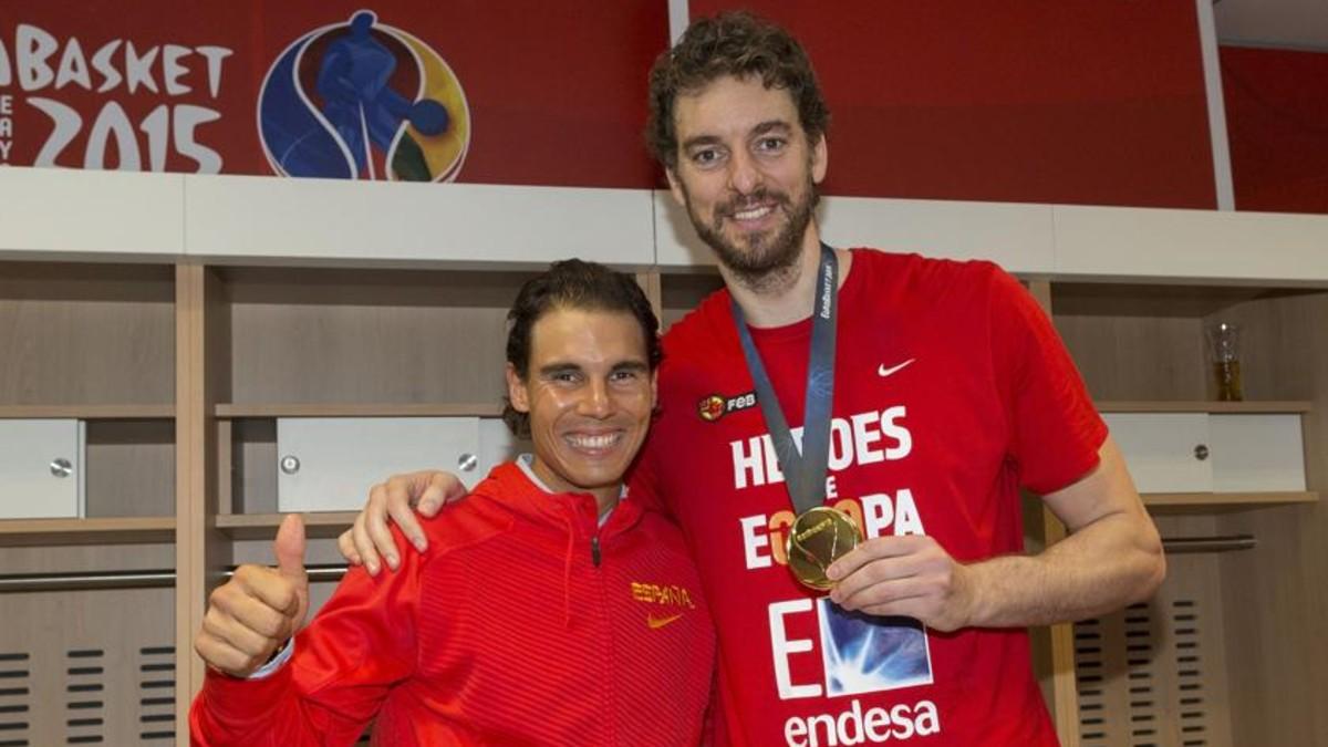 Nadal y Gasol, tras el Eurobasket de 2015.