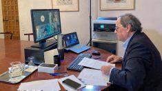 El president Quim Torra en su despacho en la Generalitat. Foto: EP