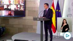 El presidente Pedro Sánchez en rueda de prensa.