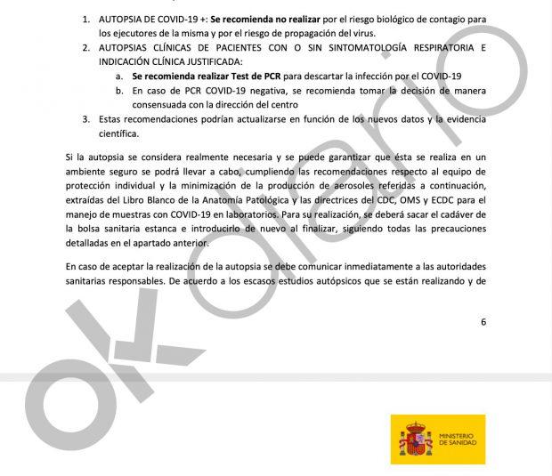 Marlaska miente: este es el documento de Sanidad que limita las autopsias y reduce la mortalidad oficial