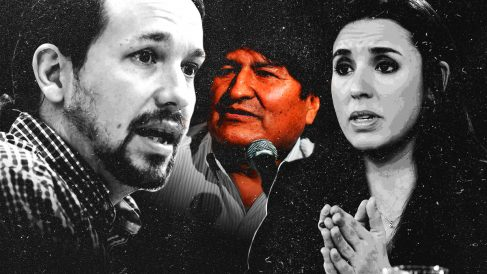 Pablo Iglesias, Evo Morales e Irene Montero.