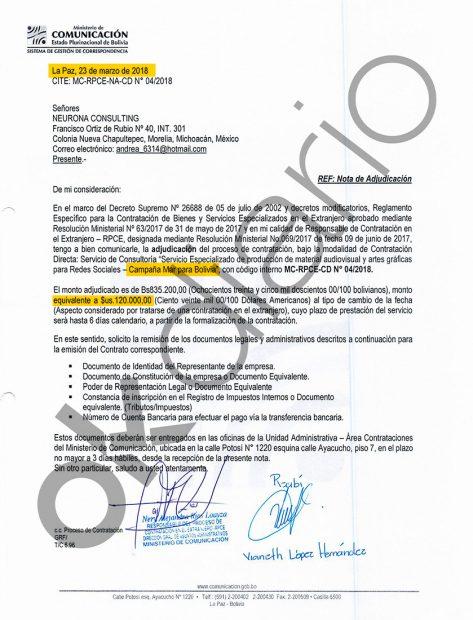 """Contrato de servicios audiovisuales y artes gráficas para redes sociales para la campaña """"Mar para Bolivia"""" por 120.000,00 dólares americanos lo que equivalen a 109.422 euros."""