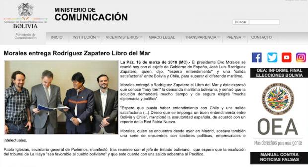 Iglesias apoyó a Evo Morales en la campaña 'Mar para Bolivia' tras cobrar Neurona 1,6 millones