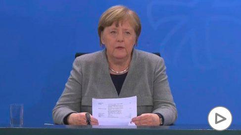 Angela Merkel, en rueda de prensa.