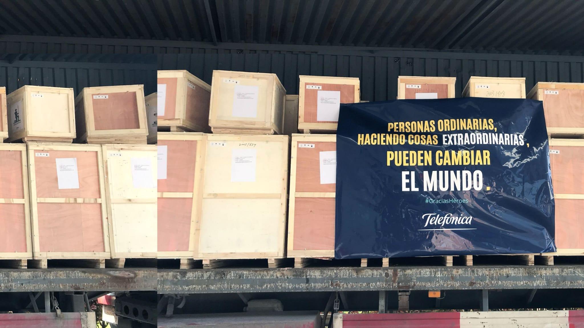 Material sanitario comprado por Telefónica, ya en Esoaña.