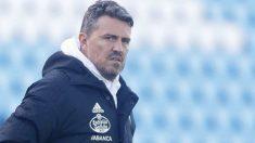 Óscar García, en un entrenamiento del Celta.