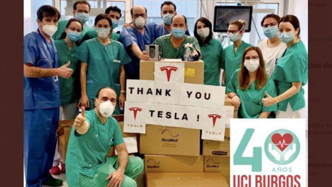 Respiradores de Tesla llegados al Hospital Universitario de Burgos.