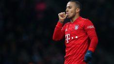 Thiago Alcántara celebra un gol con el Bayern de Múnich. (AFP)