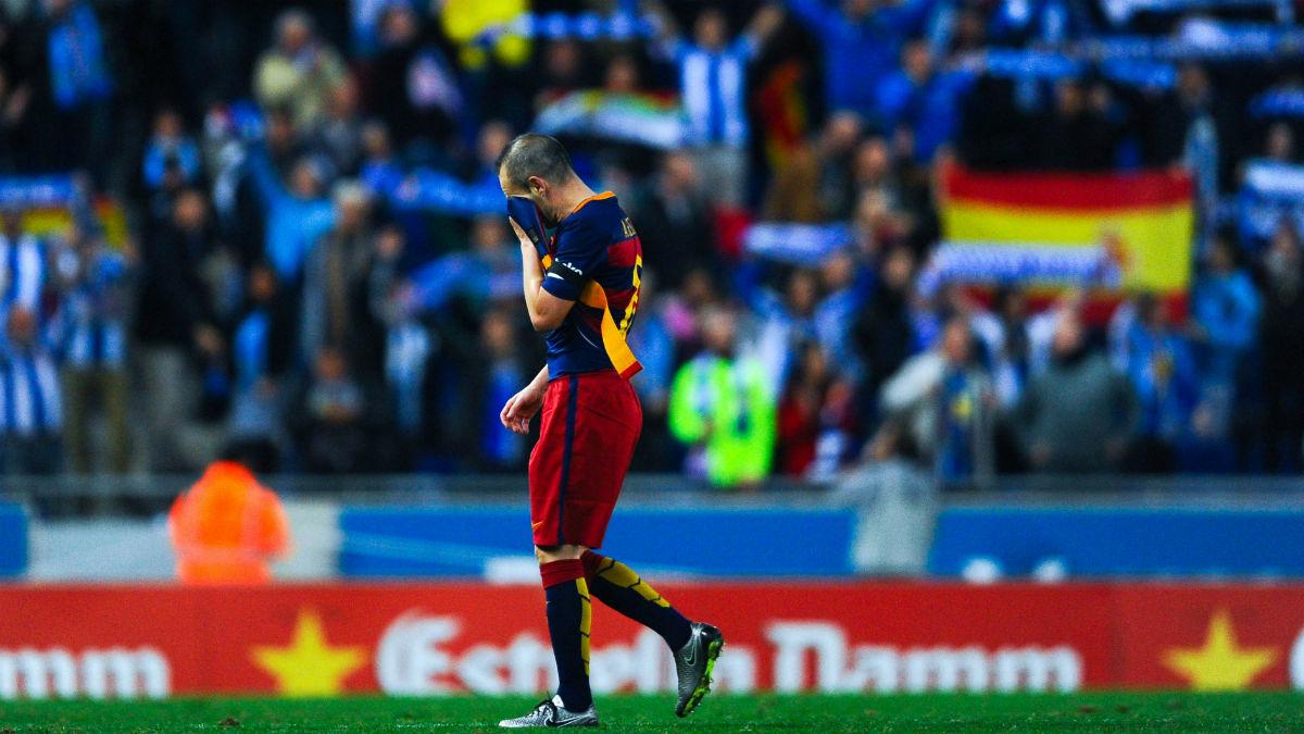 Iniesta, durante su etapa en el Barcelona. (Getty)