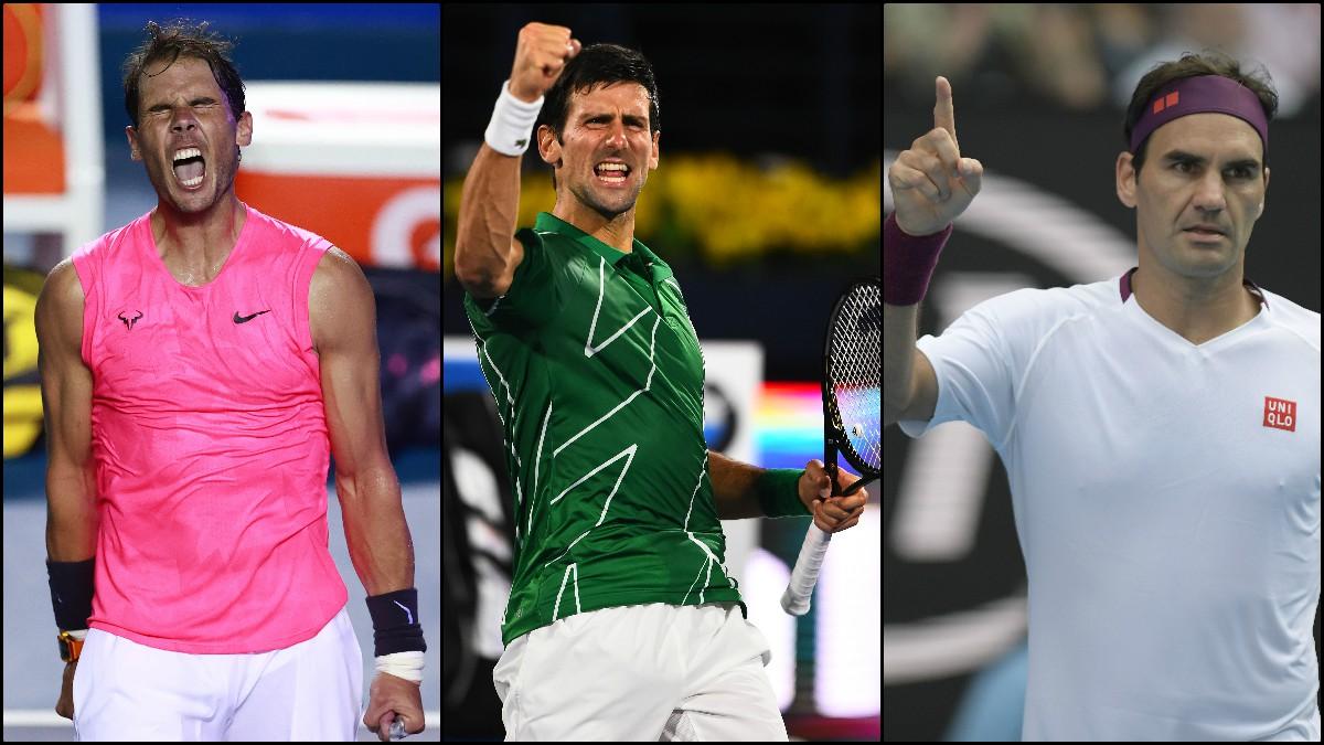 Rafa Nadal, Novak Djokovic y Roger Federer.