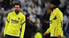 Leo Messi y Antoine Griezmann durante un calentamiento con el Barcelona. (Getty)