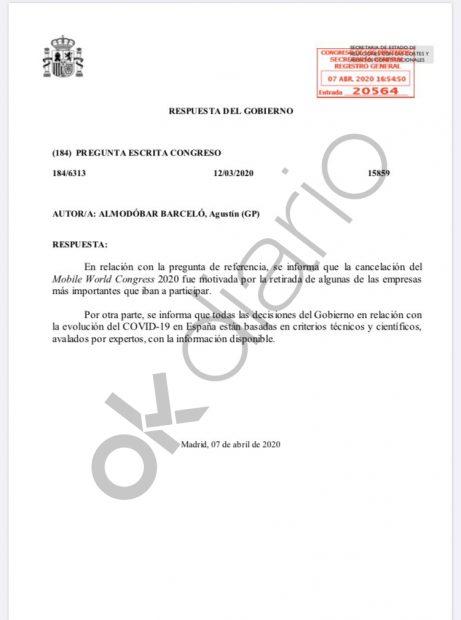 Bulo de Moncloa al Congreso: dice que el Mobile World no se canceló por el coronavirus
