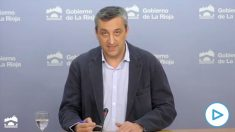 El portavoz del Ejecutivo de La Rioja, Jesús del Río, en rueda de prensa telemática.