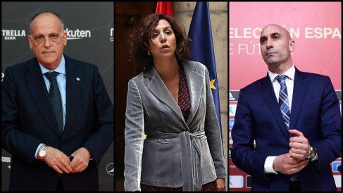 Javier Tebas, Irene Lozano y Luis Rubiales. (AFP)