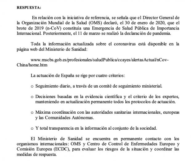 El Gobierno admite al Congreso que el coronavirus era una «emergencia internacional» el 30 de enero