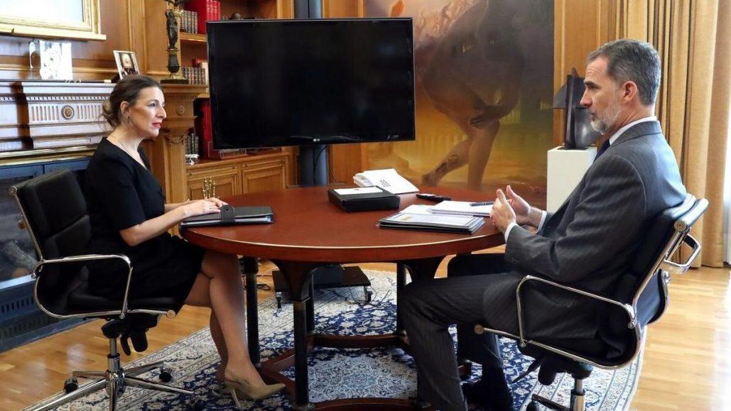 El Rey recibe en audiencia a la ministra de Trabajo y Economía Social, Yolanda Díaz