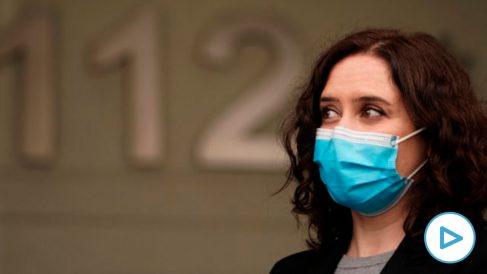 Isabel Díaz Ayuso este martes visitando el 112. (Foto: Comunidad)