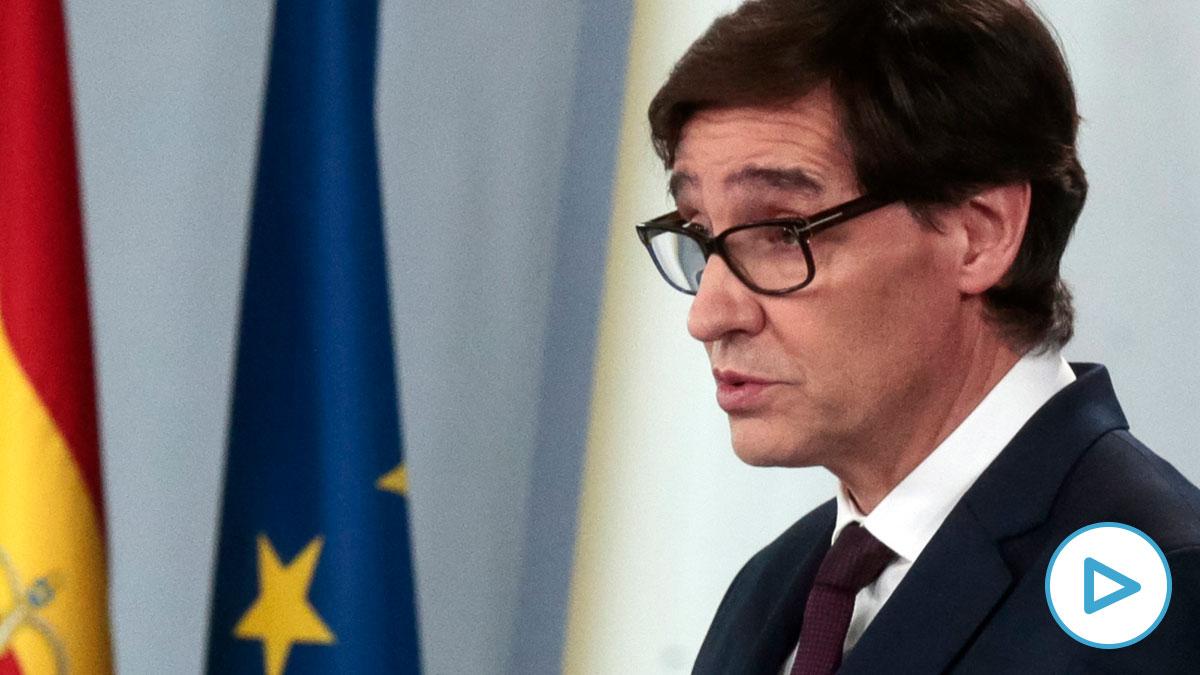 El ministro de Sanidad, Salvador Illa, durante la rueda de prensa posterior al Consejo de Ministros celebrado en Moncloa pasado un mes desde el inicio del estado de alarma decretado por el coronavirus, en Madrid. Foto: EP