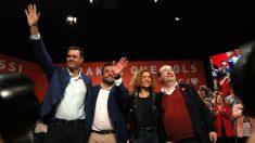 Pastor, con Sánchez, Batet e Iceta en un acto de campaña en Badalona.