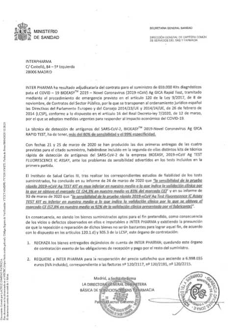 El Gobierno pagó a Interpharma 26 euros por cada test 'fake', casi el triple del precio de mercado