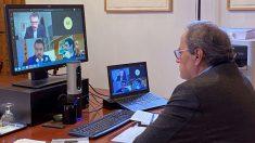 El president de la Generalitat, Quim Torra, celebra por videoconferencia su reunión semanal. Foto: EFE