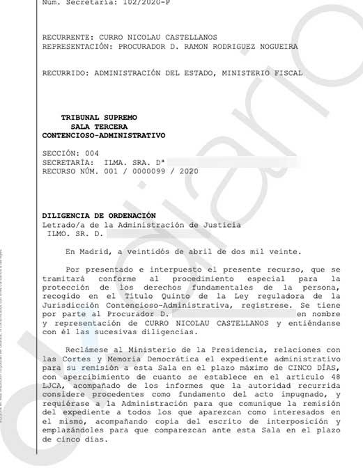El Supremo acepta la demanda de un abogado contra el Gobierno por «obligarle a confinarse» sin estar contagiado