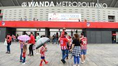 Las inmediaciones del Metropolitano antes de un partido del Atlético de Madrid.