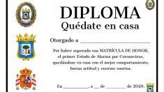 Huelva.- Coronavirus.-Policía Local de Huelva ofrece un diploma a los niños por su actitud durante el estado de alarma