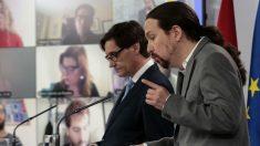El vicepresidente segundo, Pablo Iglesias, y el ministro de Sanidad, Salvador Illa (Foto: Moncloa/JM Cuadrado).