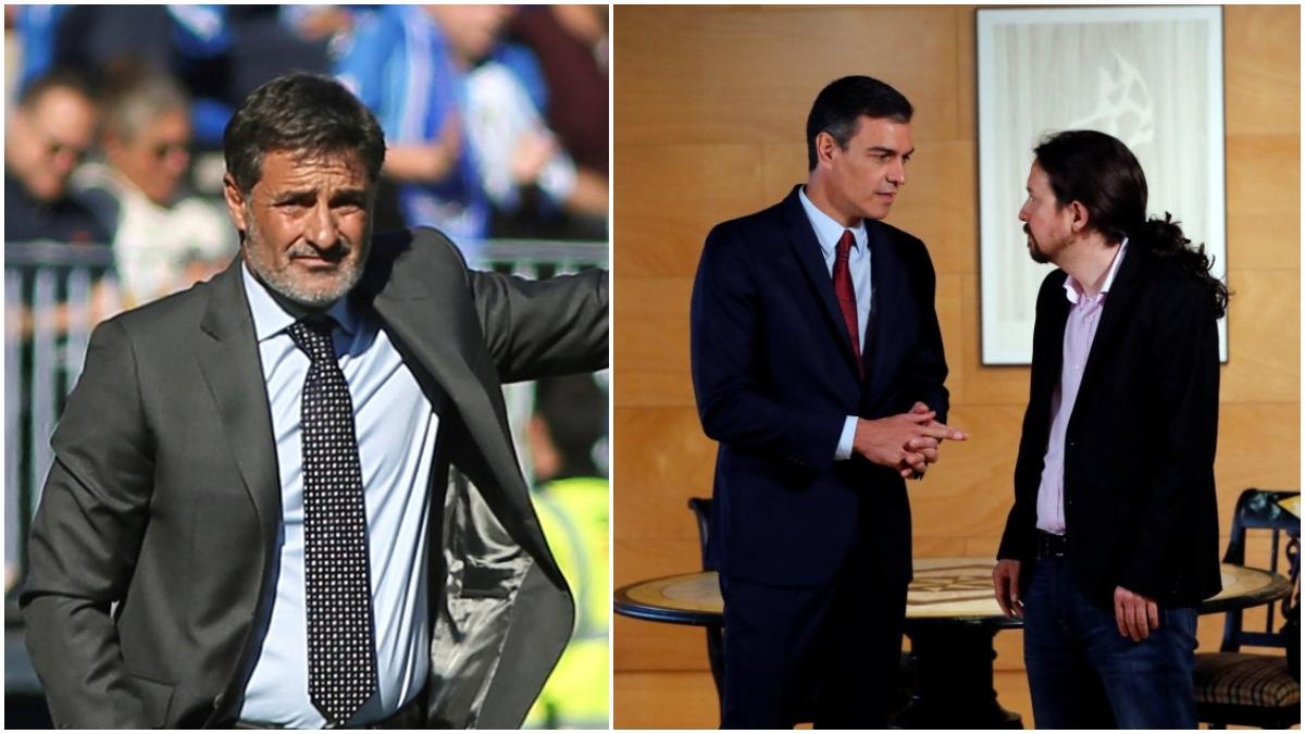 Míchel, Pedro Sánchez y Pablo Iglesias, en fotos de archivo.
