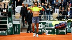 Nadal celebra una victoria en Roland Garros. (Getty)