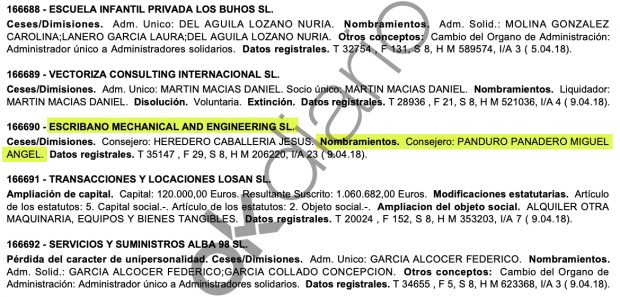Nombramiento de Miguel Ángel Panduro Panedero como consejero de Escribano Mechanical and Engineering SL.