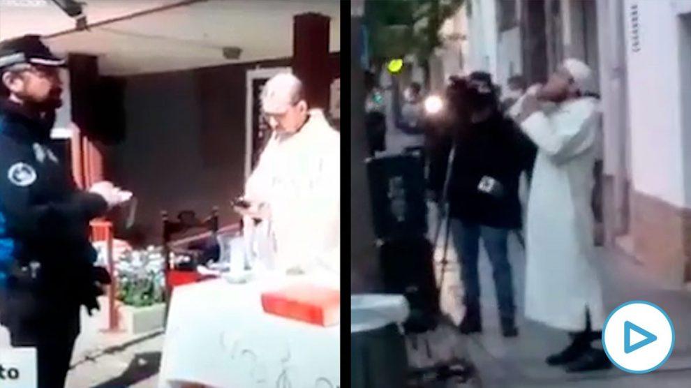 La misa católica en una parroquia de Madrid y el rezo musulmán en plena calle en El Vendrell (Tarragona).