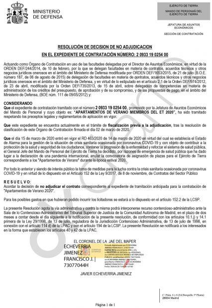 Defensa cancela por el coronavirus las reservas de apartamentos de verano para sus militares