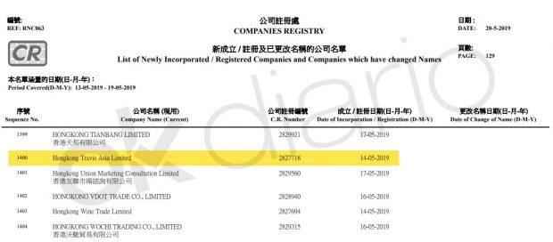 Hong Kong Travis Limited