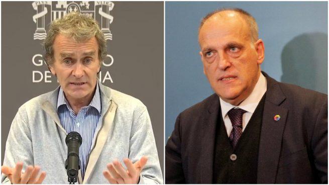 Fernando Simón y Javier Tebas, en fotos de archivo.