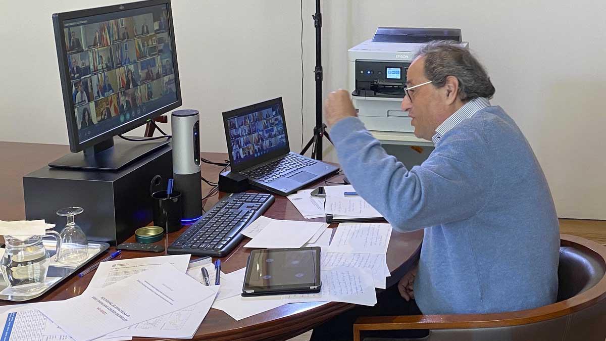 Quim Torra durante la videoconferencia con Sánchez. Foto: Europa Press