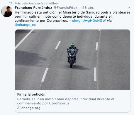 El partido de Errejón pide que salir en moto sea deporte individual para burlar el confinamiento
