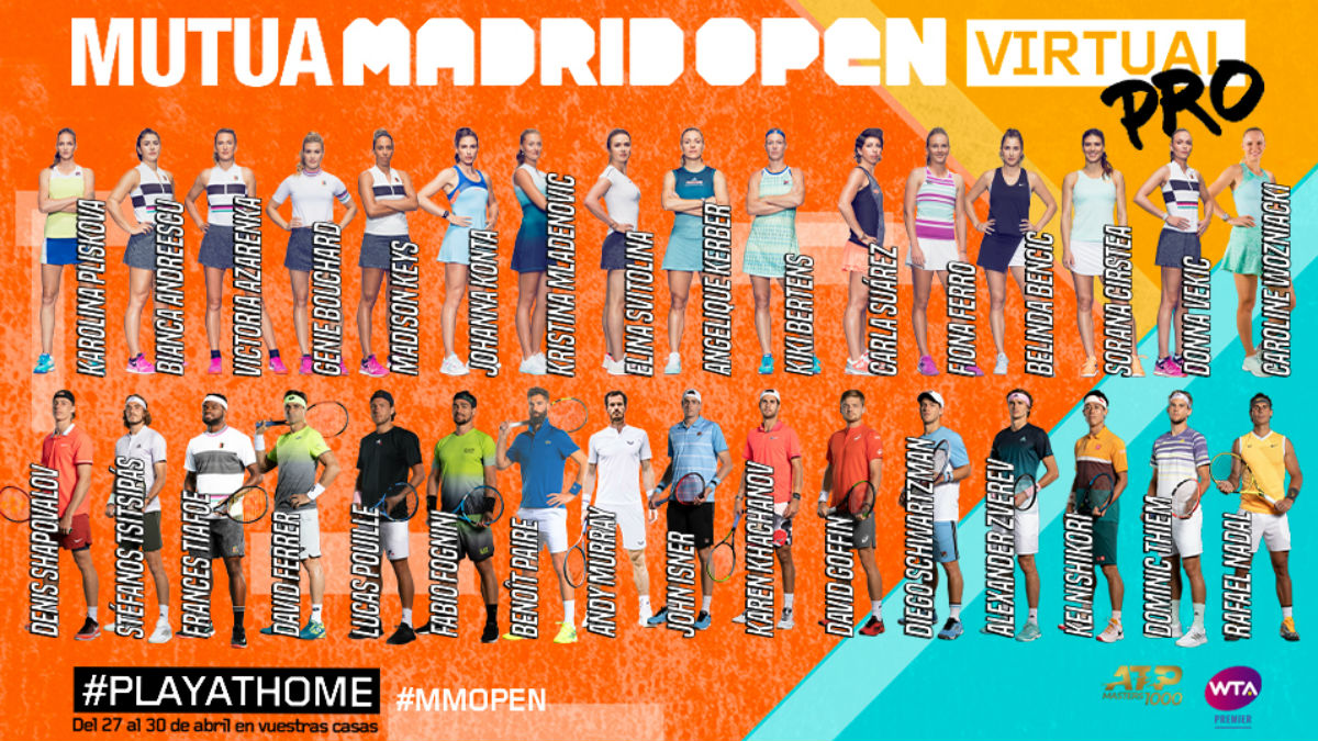 Los jugadores del Mutua Madrid Open Virtual