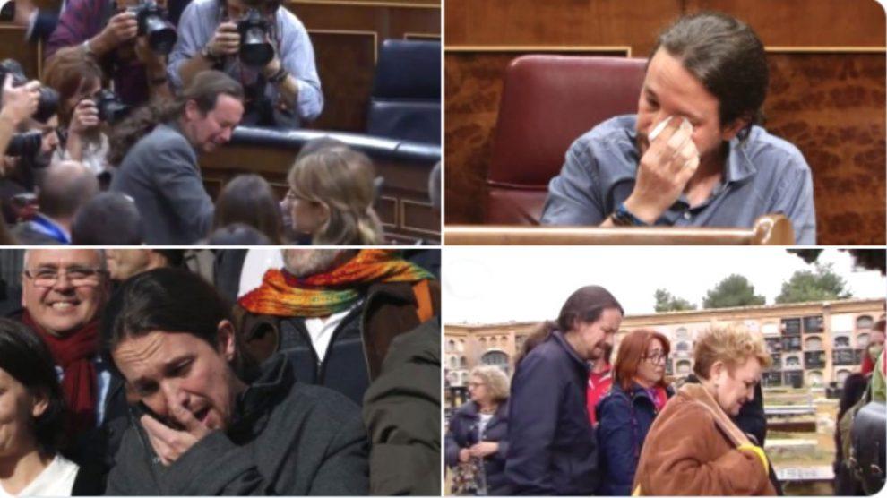 Las ocasiones en las que Pablo Iglesias se mostró emocionado en público.