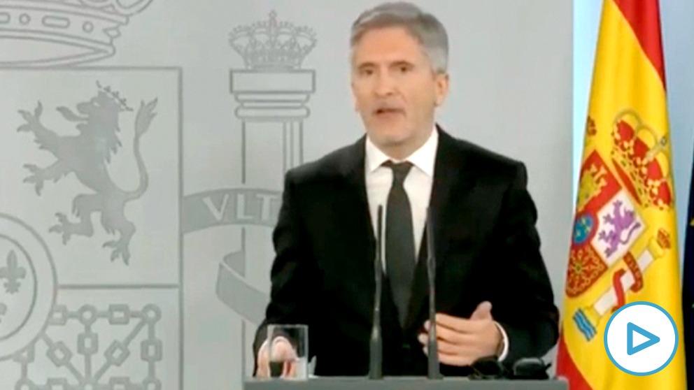 El ministro del Interior, Fernando Grande-Marlaska, durante la rueda de prensa de este lunes..