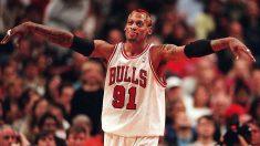 Dennis Rodman, durante un partido con los Chicago Bulls.