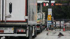 Varios camiones esperan para pasar por el peaje de acceso a Mercamadrid el pasado 15 de abril, en estado de alarma. (Jesús Hellín/Ep)