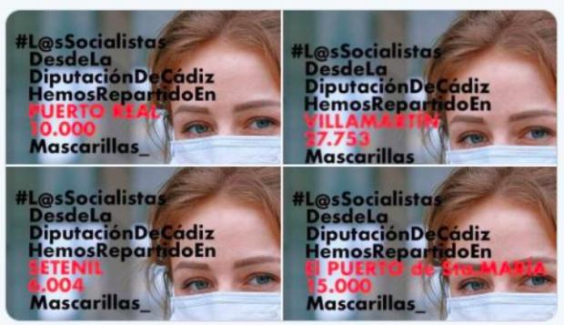 Capturas de las imágenes que difunde el PSOE.