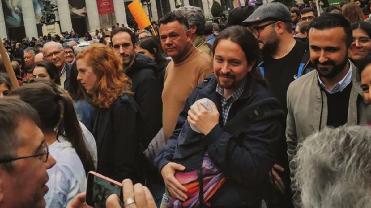 Pablo Iglesias en la manifestación del 8-M de 2020. (Foto: Podemos)
