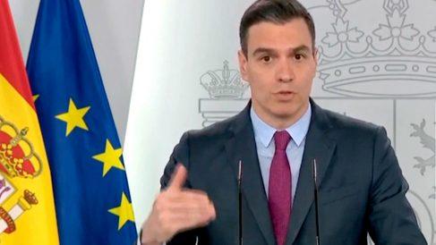 Pedro Sánchez durante una rueda de prensa en Moncloa.