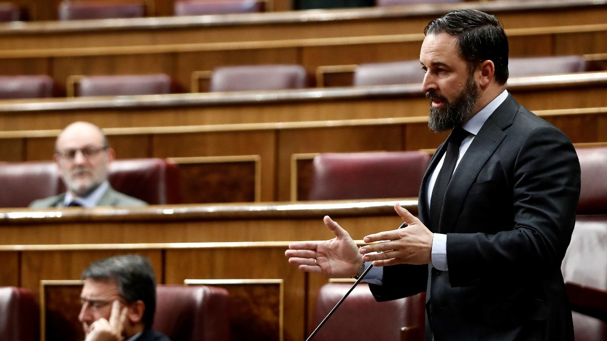 El presidente de Vox, Santiago Abascal, en el Congreso. (Foto: EP)