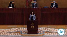 Isabel Díaz Ayuso en la Asamblea de Madrid. (Foto: Pool EFE)