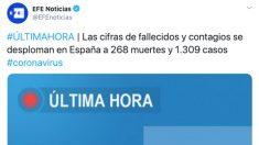 El tuit de la agencia Efe sobre los fallecidos por el coronavirus en las últimas 24 horas.